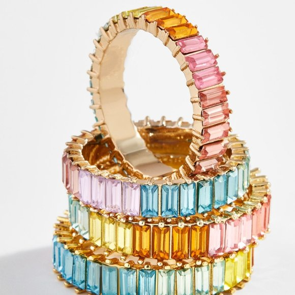 BaubleBar Rainbow Mini Alidia Ring Size 9
